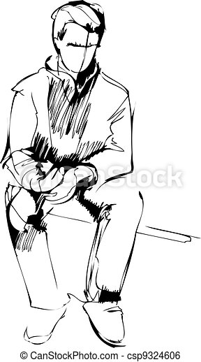 sketch of a seated boy - csp9324606