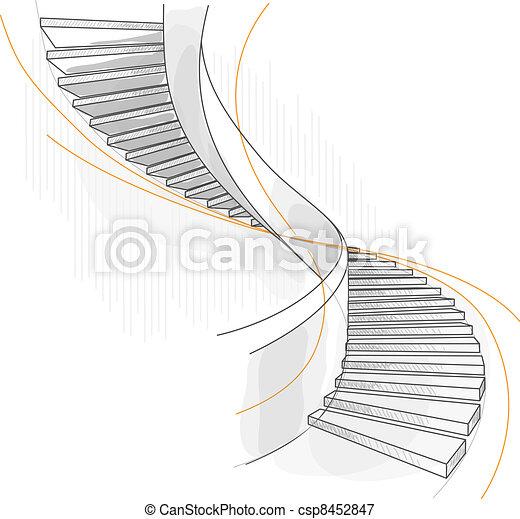 Sketch of a spiral staircase. - csp8452847