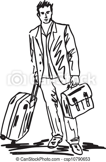 Sketch Of A Successful Young Business Man With Travel Bag Vector Illustration