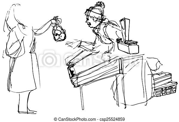 sketch of a woman at the market buying apples - csp25524859