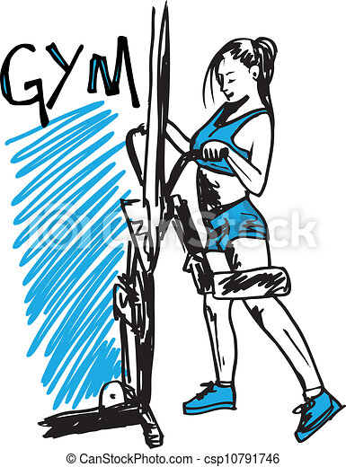 Sketch of a woman working out at the gym with dumbbell weights. vector illustration - csp10791746