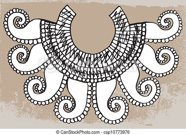 Sketch of ancient necklace. Vector illustration - csp10773976