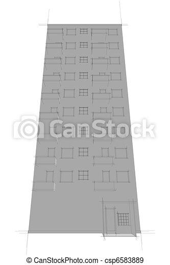 sketch of apartment block - csp6583889