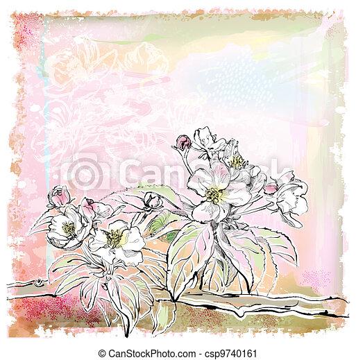 sketch of apple tree in bloom - csp9740161