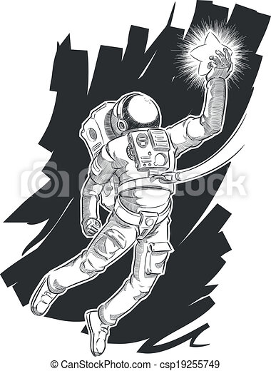 Sketch of Astronaut or Spaceman - csp19255749
