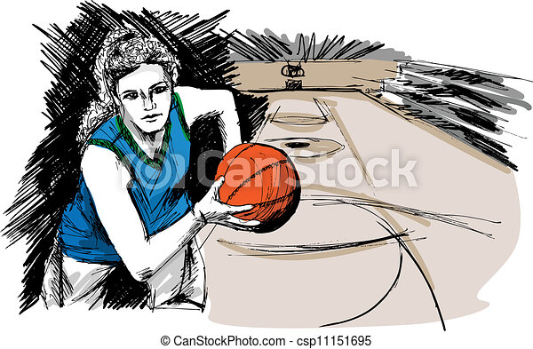 Sketch of Basketball player - csp11151695