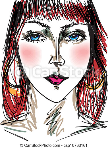 Sketch of beautiful woman face. Vector illustration - csp10763161