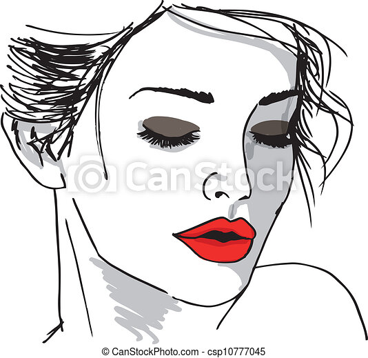 Sketch of beautiful woman face. Vector illustration - csp10777045