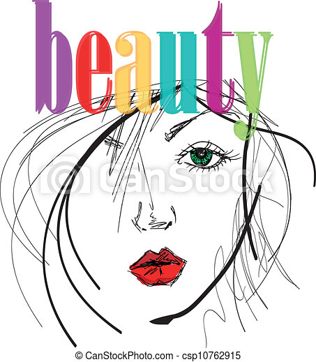 Sketch of beautiful woman face. Vector illustration - csp10762915