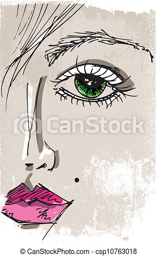 Sketch of beautiful woman face. Vector illustration - csp10763018