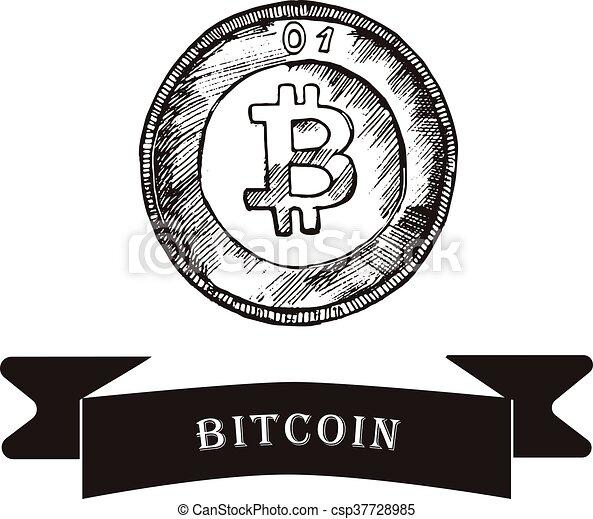 Sketch of bitcoin. vector illustration - csp37728985