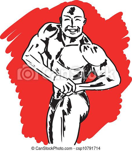 Sketch of bodybuilder. vector illustration - csp10791714
