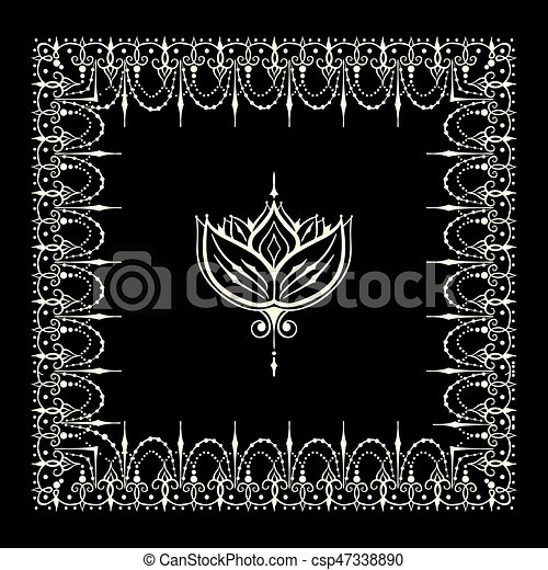 Sketch Of Border And Endless Stripes With Lotus Flower In Henna