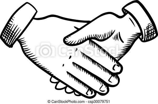 Sketch Of Business Partnership Handshake Business Partnership