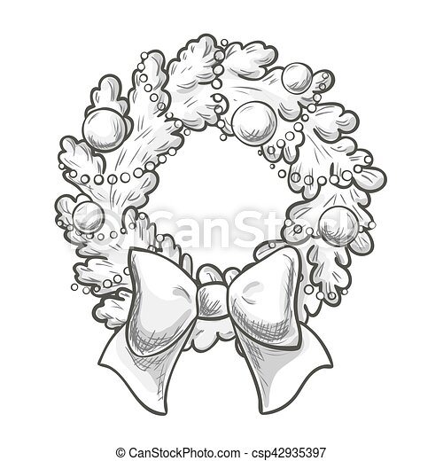 Sketch Of Christmas Wreath On White Background Vector