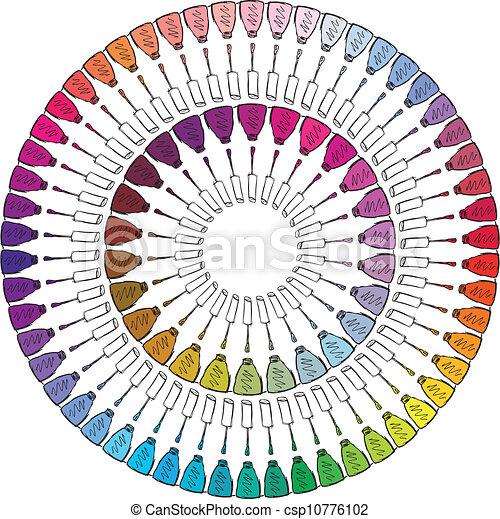 Sketch of Colorful nail polish. Vector illustration - csp10776102