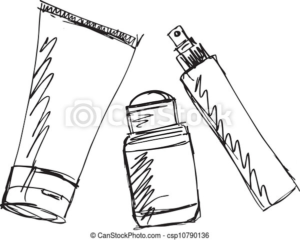 Sketch of Cosmetics dispensers and tube. Vector illustration - csp10790136