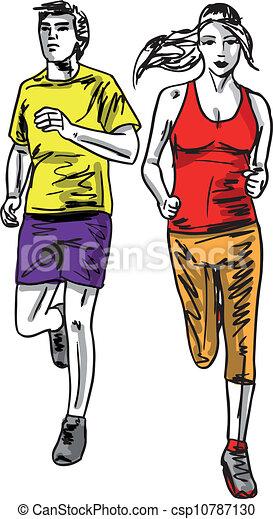 Sketch of couple marathon runners. Vector illustration - csp10787130