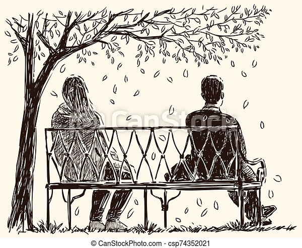 Sketch Of Couple Of Young People Sitting On Park Bench
