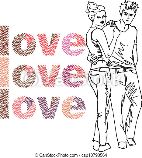 Sketch of couple. Vector illustration - csp10790564