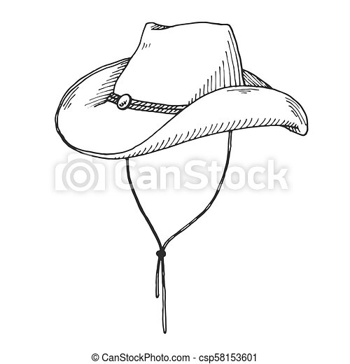 0f2428553c4c3 Sketch of cowboy hat isolated on white background. - csp58153601