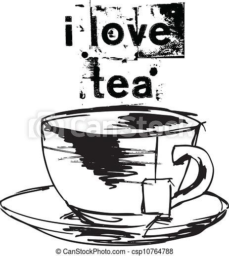 Sketch of Cup of tea with tea bag. Vector illustration - csp10764788