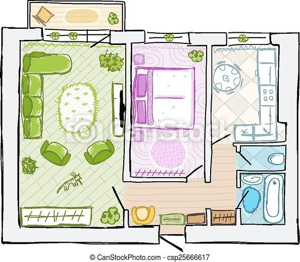 Sketch of design interior apartment, hand drawn vector illustration - csp25666617