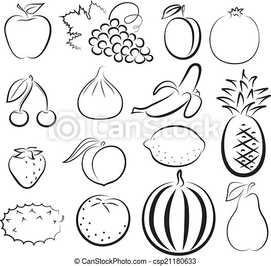 sketch of different fruits - csp21180633