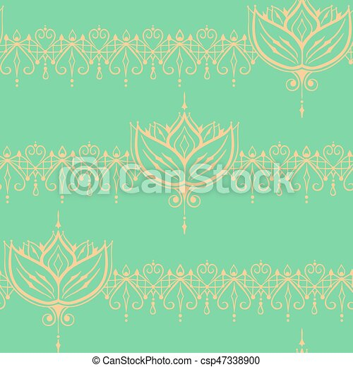 Sketch Of Endless Stripes With Lotus Flower In Henna Tattoo Style