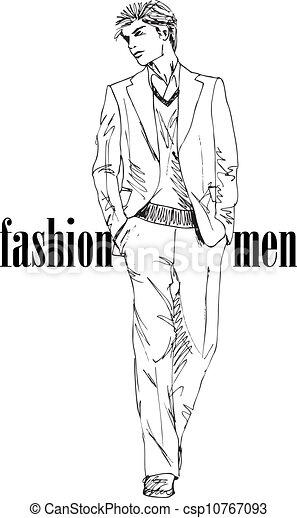 Sketch of fashion handsome man. Vector illustration - csp10767093