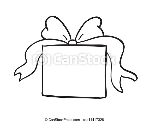 sketch of gift box - csp11417326