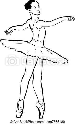 sketch of girl's ballerina in tutu and pointe - csp7665180