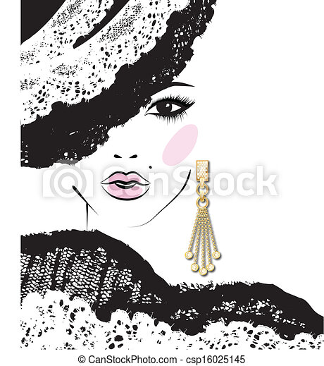 sketch of girl's head with earring, fashion illustration - csp16025145