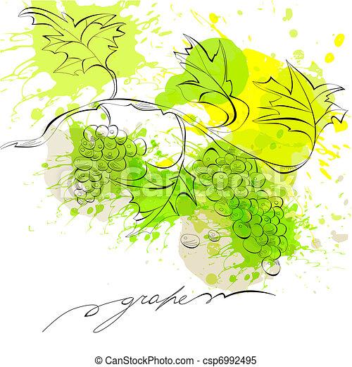 Sketch of grapes - csp6992495