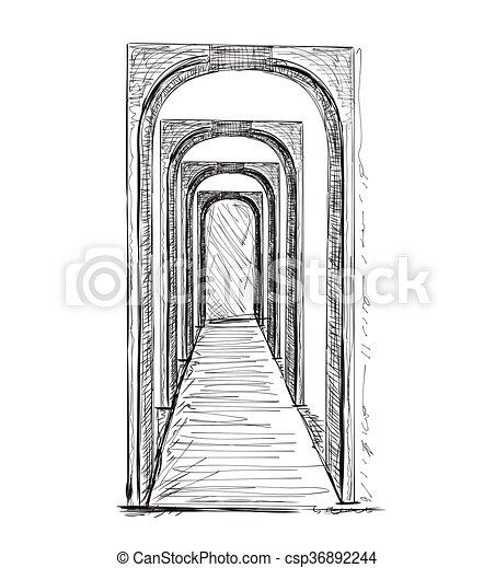 Sketch of hall. Hand drawn interior  - csp36892244