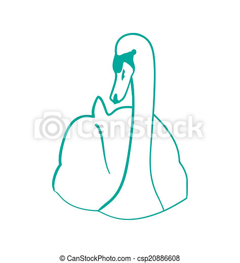 sketch of hand drawn swan outline contour style isolated on w vector