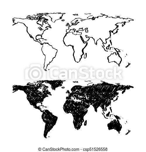 Sketch of hand drawn World map.