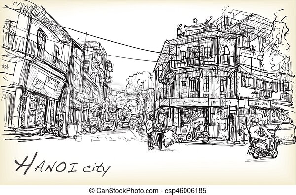 Sketch Of Hanoi Town Street Market And Old Building Free Hand Draw