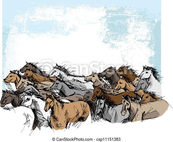 Sketch of horses running - csp11151383