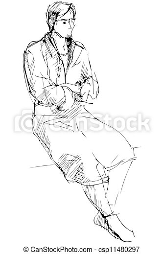 sketch of man in a dressing-gown sits barefoot - csp11480297