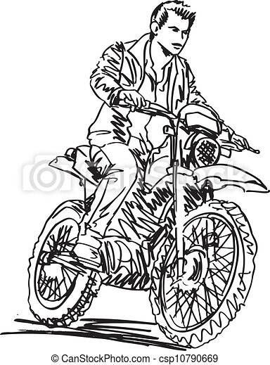 Sketch of motocross bike increase speed in track. Vector illustration - csp10790669