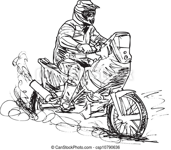 Sketch of motocross bike increase speed in track. Vector illustration - csp10790636