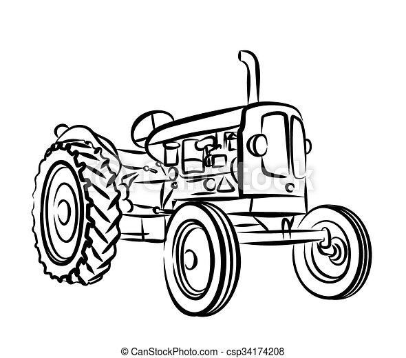 Afbeelding Tractor Kleurplaat Sketch Of Old Tractor Sketch Of An Old Farmer Tractor