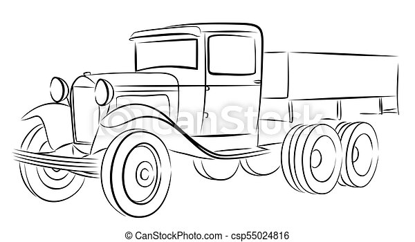 sketch of old truck  a sketch of the old truck  vector