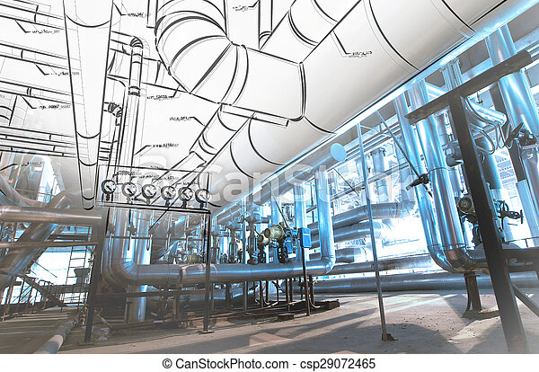Sketch of piping design mixed with industrial equipment photos - csp29072465
