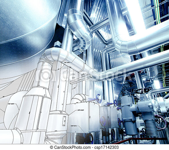 Sketch of piping design mixed with industrial equipment photo - csp17142303