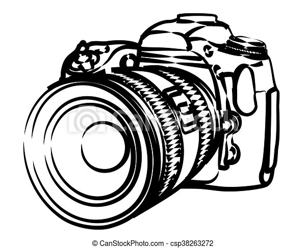 Sketch Of Professional Camera Sketch Of The Professional Digital