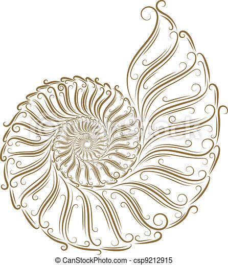 Sketch of seashells - csp9212915