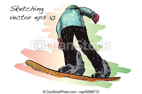 Sketch Of Snow Board Man Riding Winter Sport Snowboarding Collection Free Hand Draw Illustration Vector