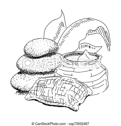 Sketch Of Spa Objects Pile Of Stones Sand Bag And Leaves Vector